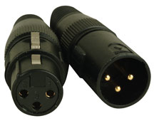 3-pin DMX Connectors, OUT on left and IN on right.